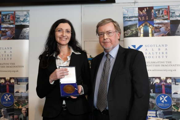 Barbara Leonardi and Prof Alan Riach, who presented the award